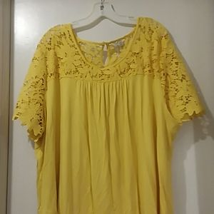 EST. 1946 blouse yellow  with lace 26/28 W